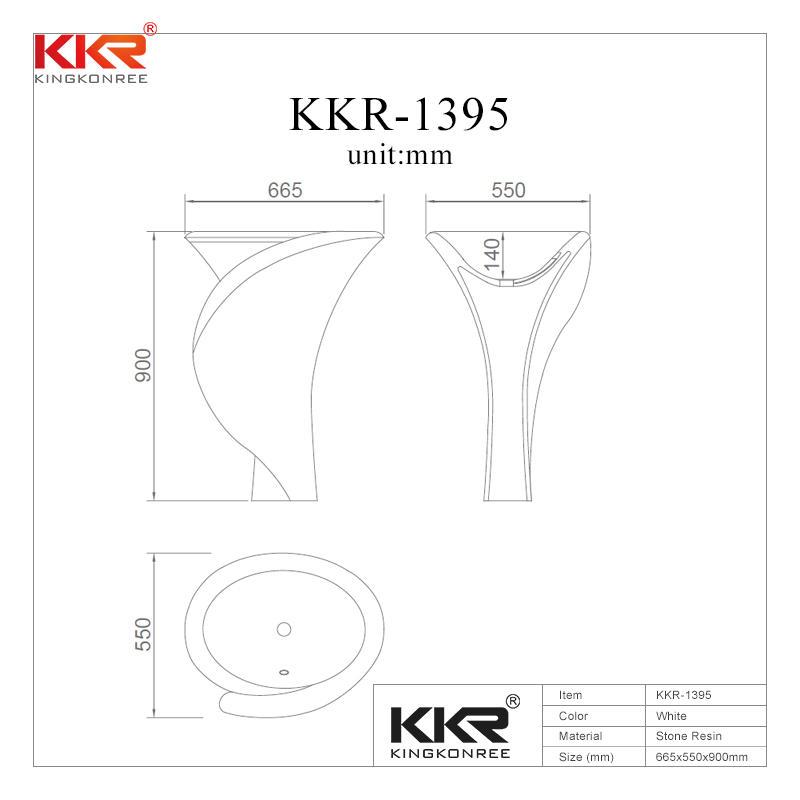 Lavabo independiente de superficie sólida Polymarble KKR-1395