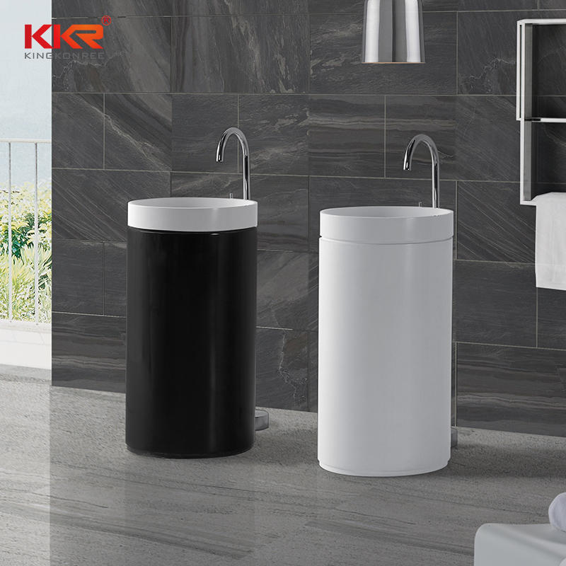 White And Black Solid Surface Acrylic Stone Solid Surface Freestanding Basin KKR-1397