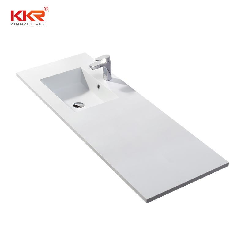 Lavabo de gabinete de superficie sólida de mármol acrílico de piedra artificial con tocador KKR-1552