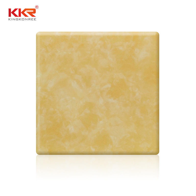 Hoja de superficie sólida acrílica translúcida amarilla KKR-A005