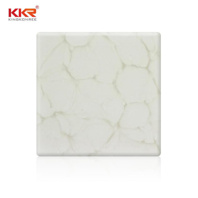 Hoja de superficie sólida acrílica de mármol Artificial transparente KKR-A028