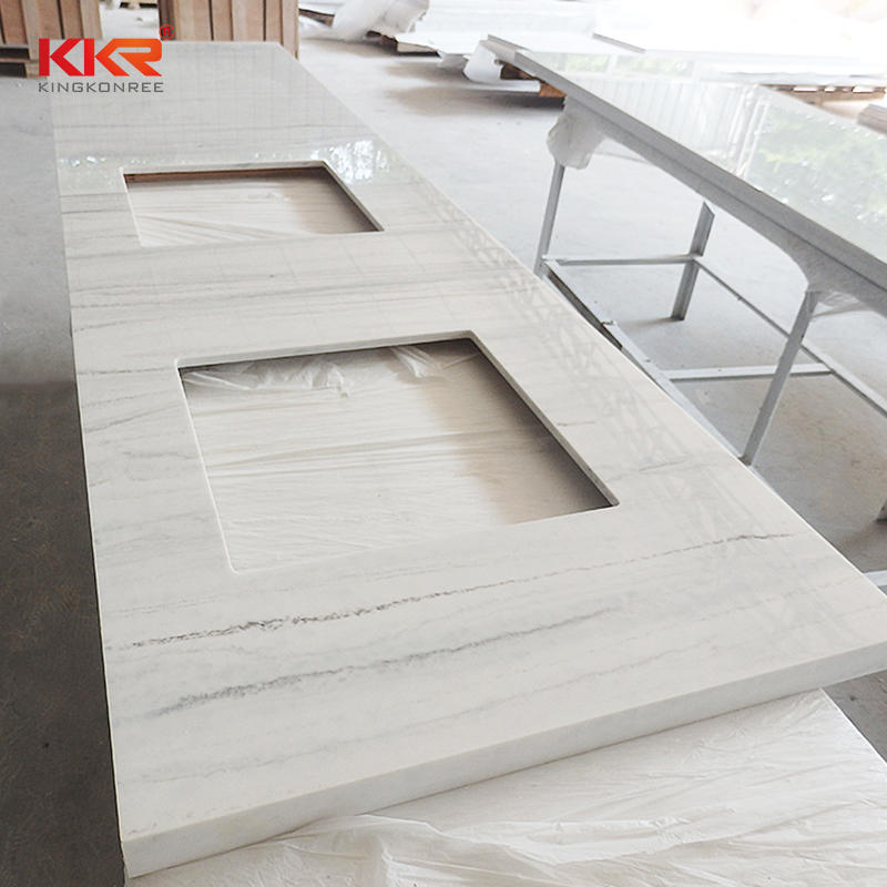 Hot Sale Marble Pattern Acrylic Solid Surface Vanity Top With KKR Color 8810