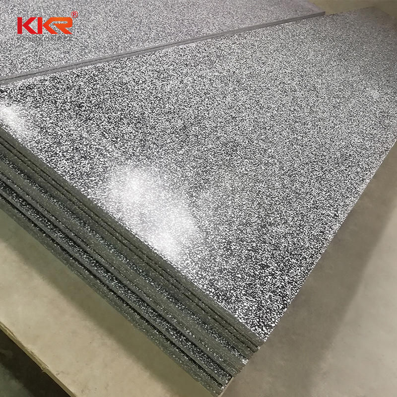 Black Color With White Chips Acrylic Solid Surface Sheets KKR-M1684