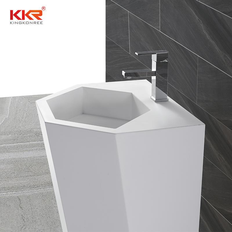 5 Lavabo independiente de superficie sólida de acrílico blanco elegante estándar de 5 estrellas KKR-1399