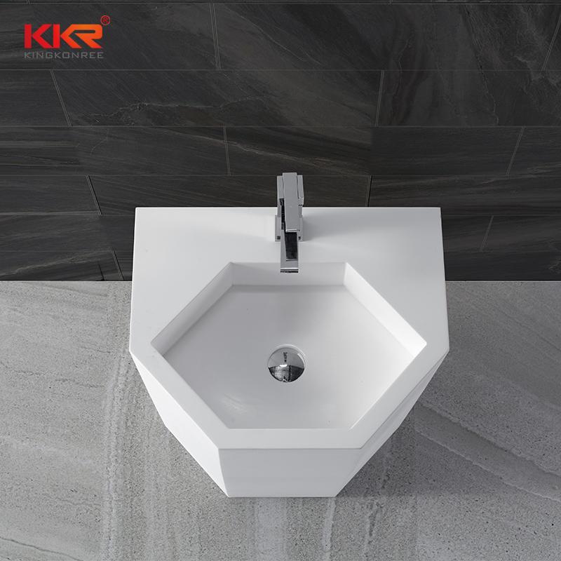5 Stars Standard Elegant White Acrylic Solid Surface Freestanding Basin KKR-1399