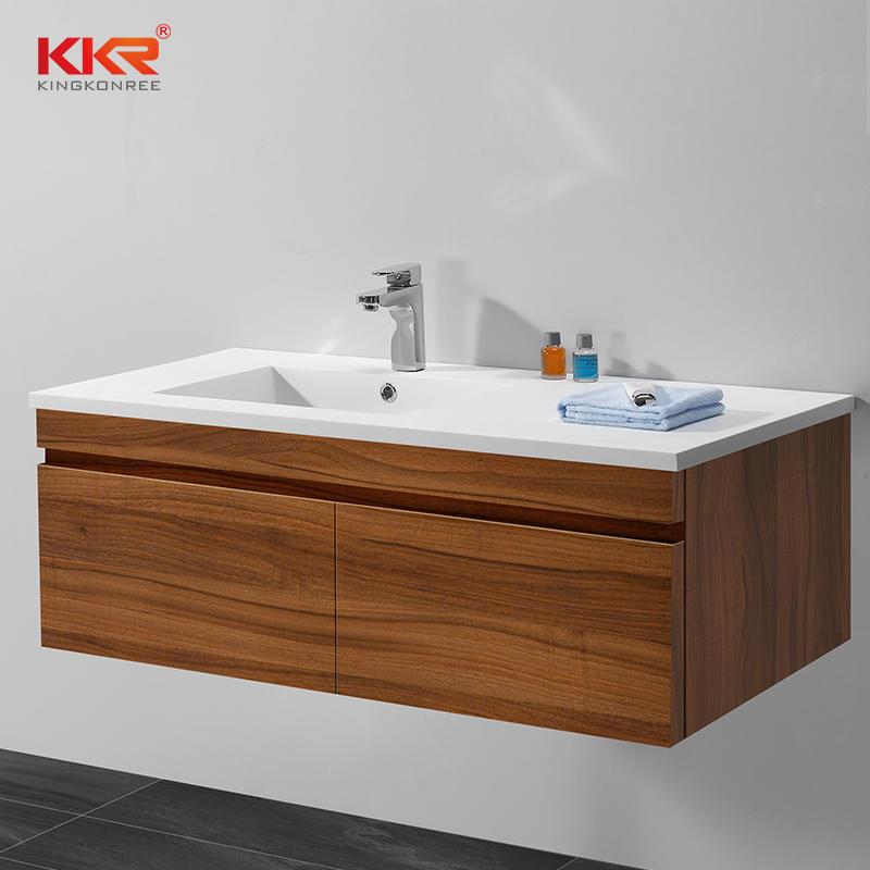 Lavabo de gabinete de superficie sólida de acrílico blanco de alta calidad KKR-1556
