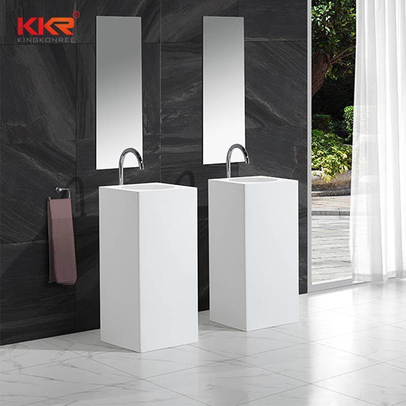 Lavabo independiente cuadrado de superficie sólida de tamaño pequeño KKR-1580