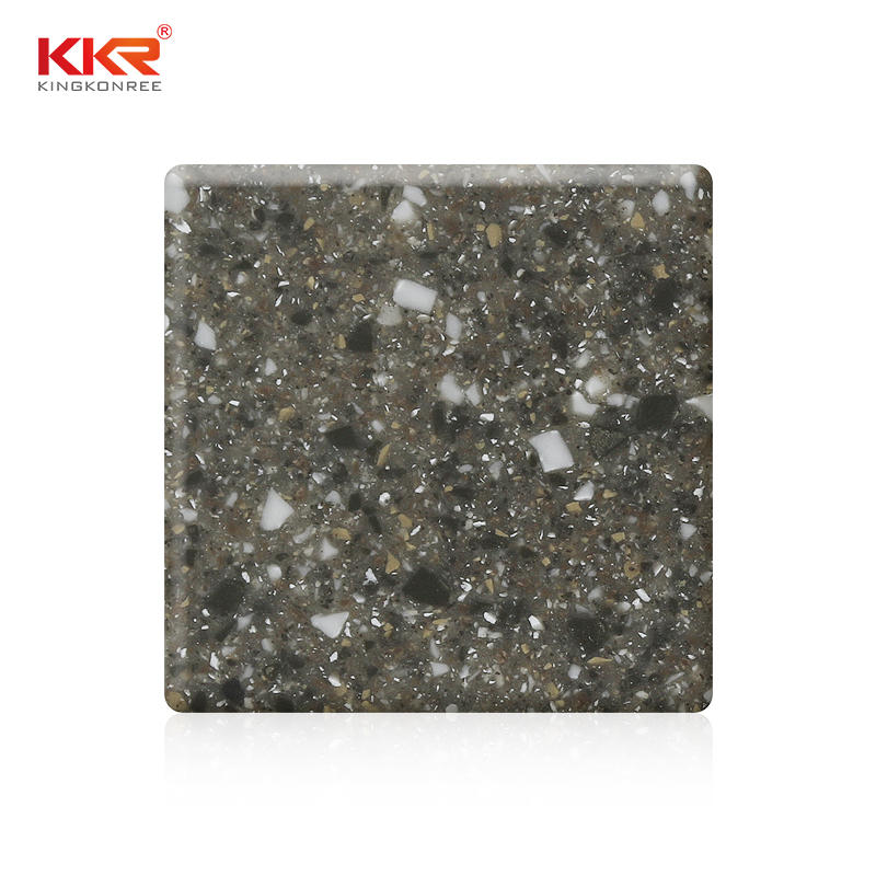 Gray Color With Big Chips Modified Acrylic Solid Surface Sheets KKR-M1667