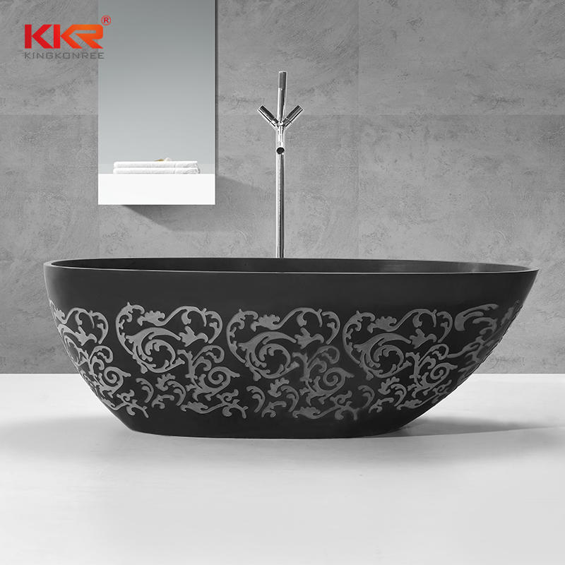 Carving Pattern Design Acrylic Solid Surface Bathtubs KKR-B068