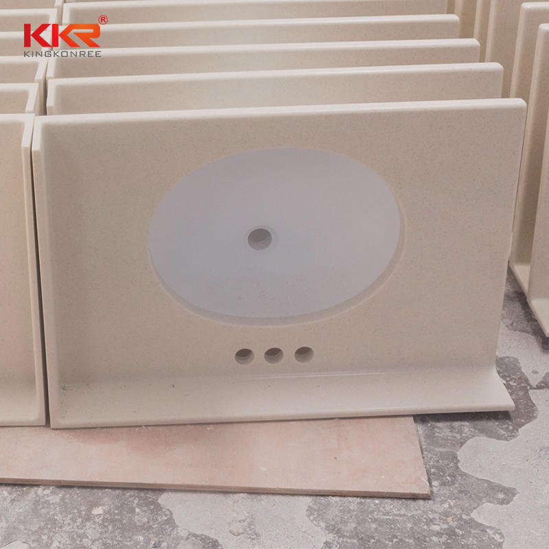 KKR Customized Acrylic Solid Surface Bathroom Vanity With Back Splash