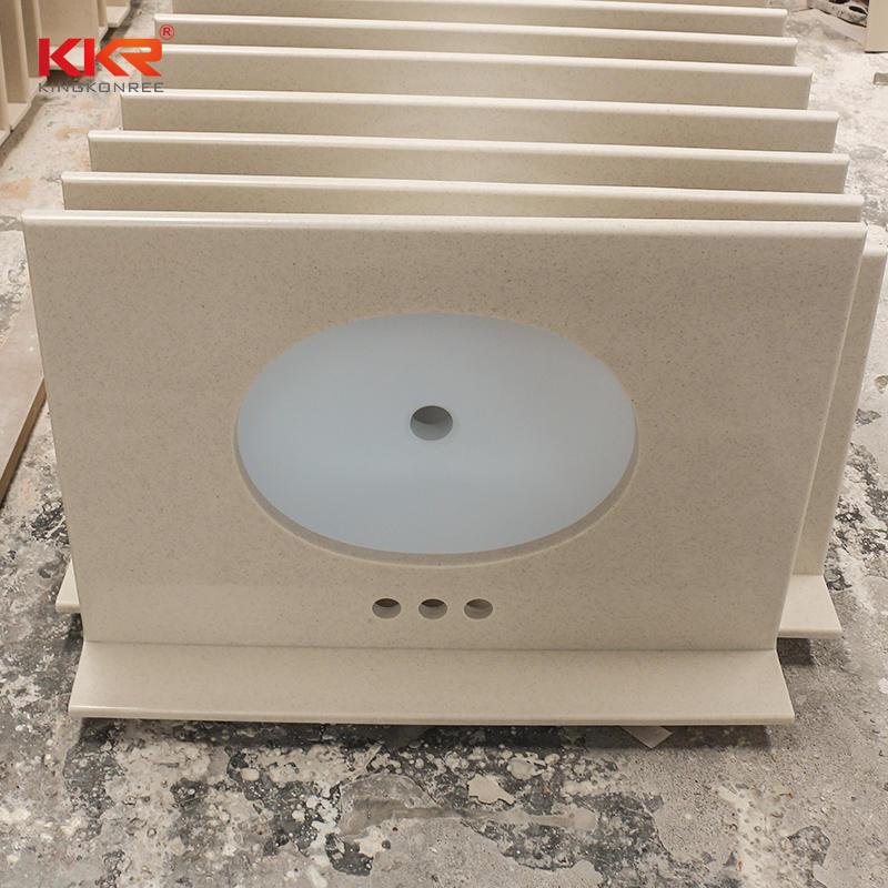 KKR Customized Acrylic Solid Surface Bathroom Vanity With Back Splash
