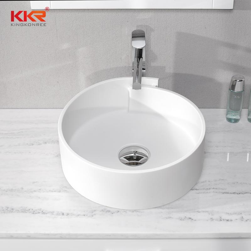 Diseño elegante, superficie sólida de acrílico blanco sobre el lavabo KKR-1051
