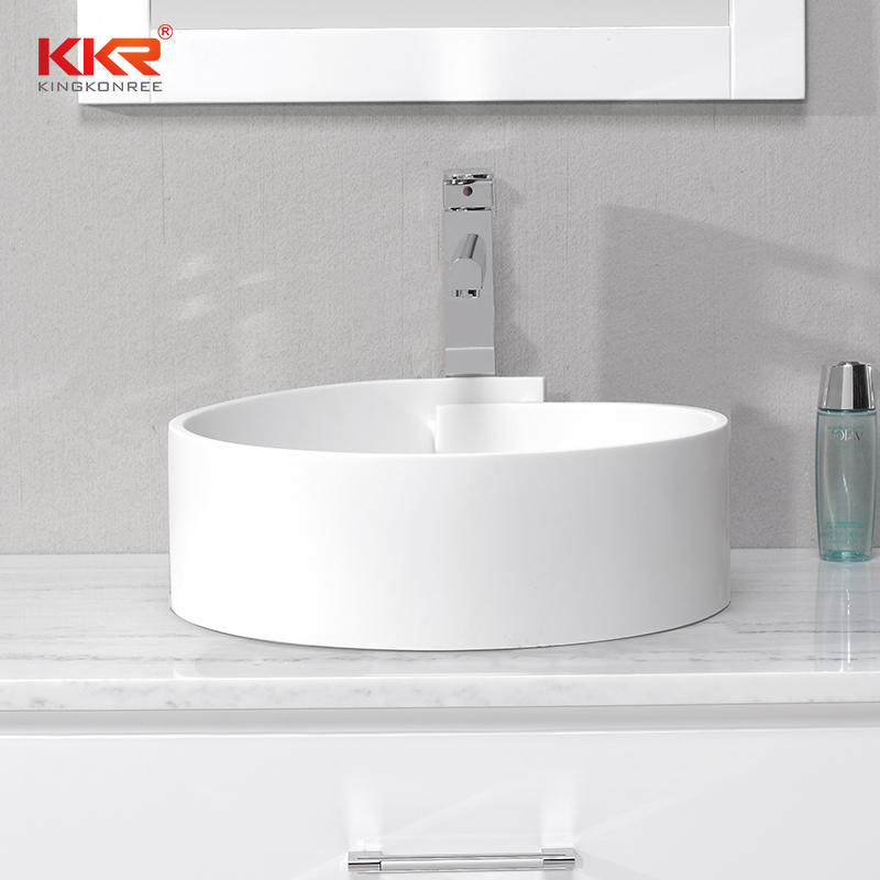 Elegant Design White Acrylic Solid Surface Above Counter Wash Basin KKR-1051