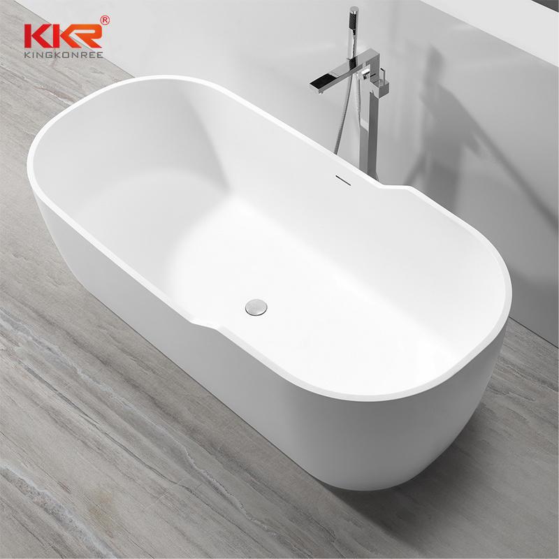 180cm New Designed Big Size White Marble Acrylic Solid Surface Bathtub KKR-B059