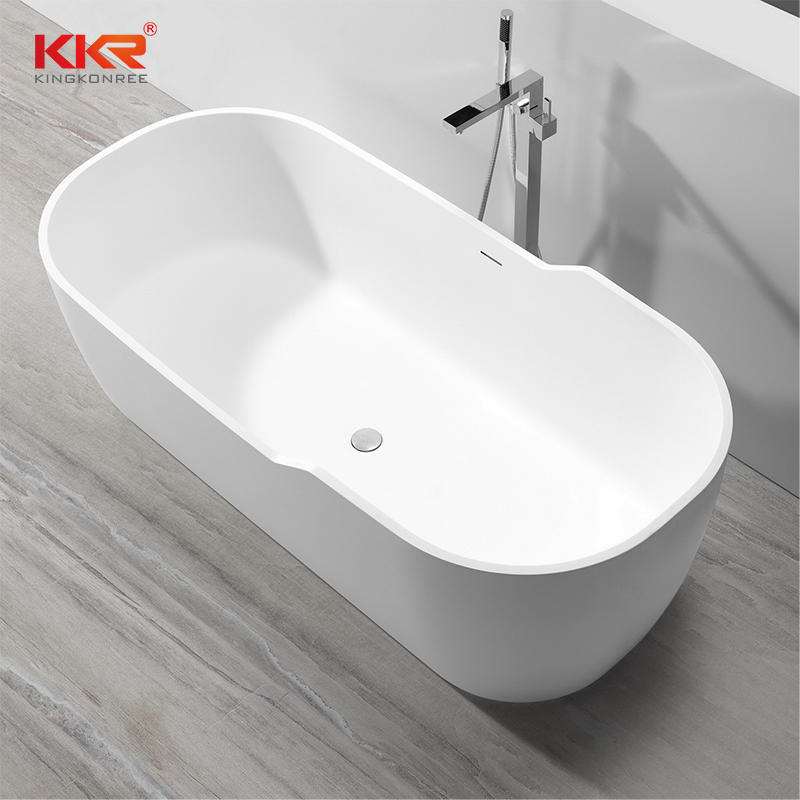 180cm New Designed Big Size White Marble Acrylic Solid Surface Bathtub KKR-B059