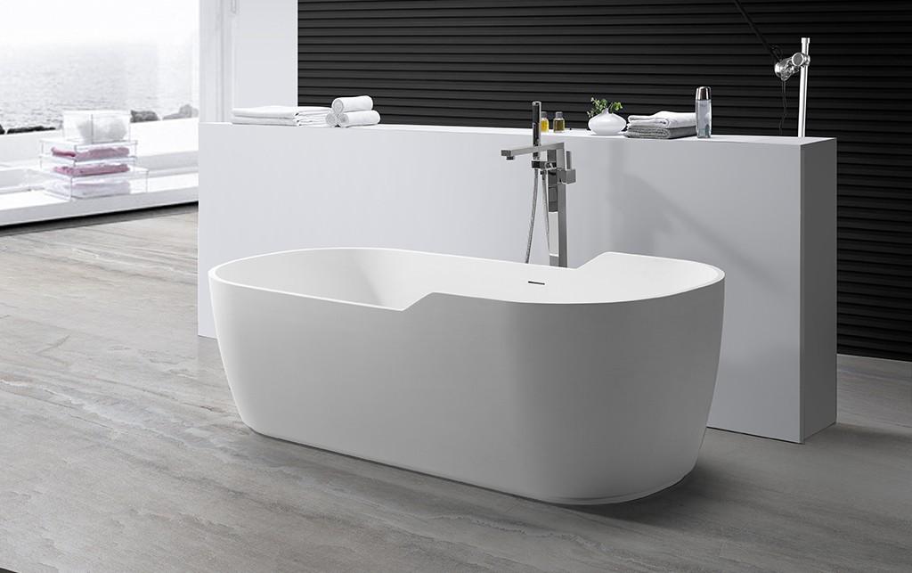 white rectangular freestanding bathtub free design for hotel-1
