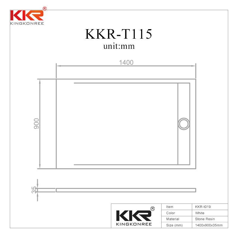 Plato de ducha de superficie sólida acrílica de 1400x900 mm KKR-T115