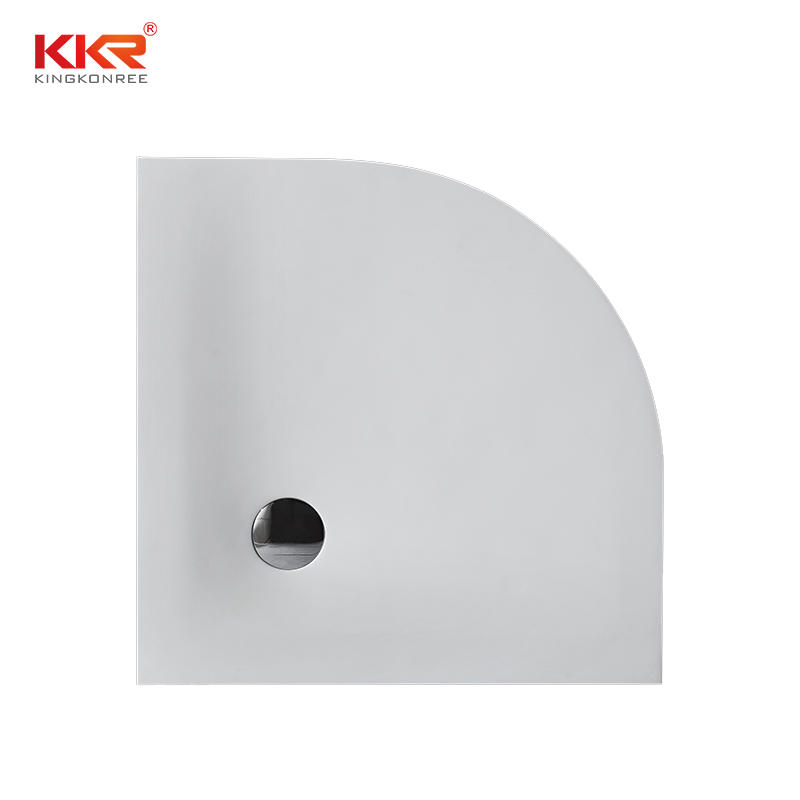 Quarter Circle White Marble Acrylic Solid Surface Shower Tray KKR-T008