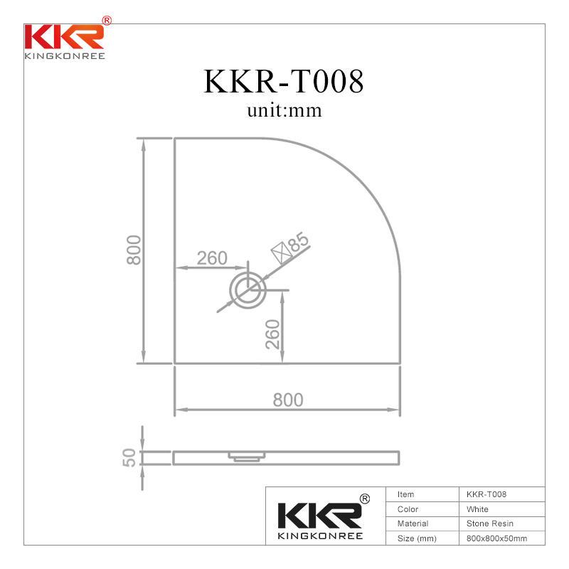 Quarter Circle - Plato de ducha de superficie sólida, acrílico, mármol blanco KKR-T008