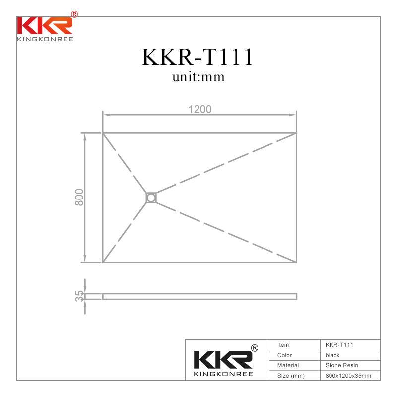 Plato de ducha de baño de piedra artificial de polímero negro KKR-T111