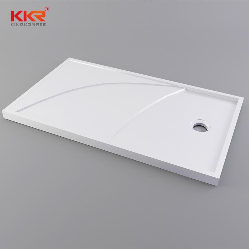 Plato de ducha de superficie sólida de mármol blanco de 1400 mm de longitud KKR-T012