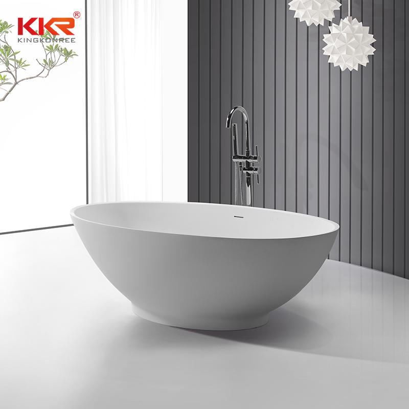 KKR Wholesale White Marble Acrylic Solid Surface Bathtub KKR-B061