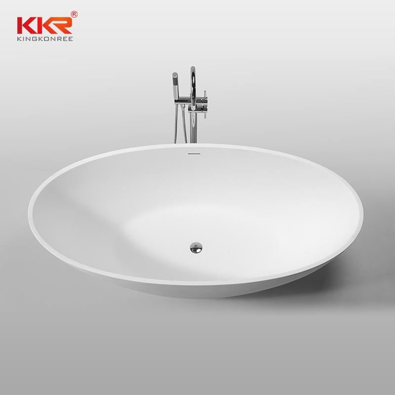KKR Wholesale White Marble Acrylic Solid Surface Bathtub KKR-B061
