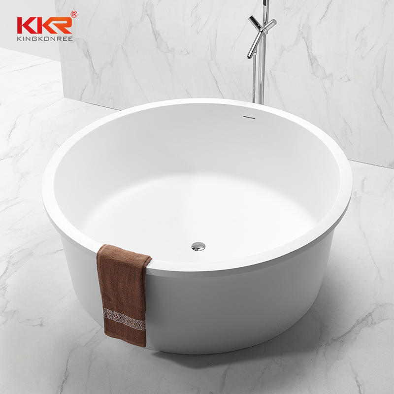 Dia1520x610mm Round Acrylic Marble Solid Surface Bath Tub KKR-B064-A
