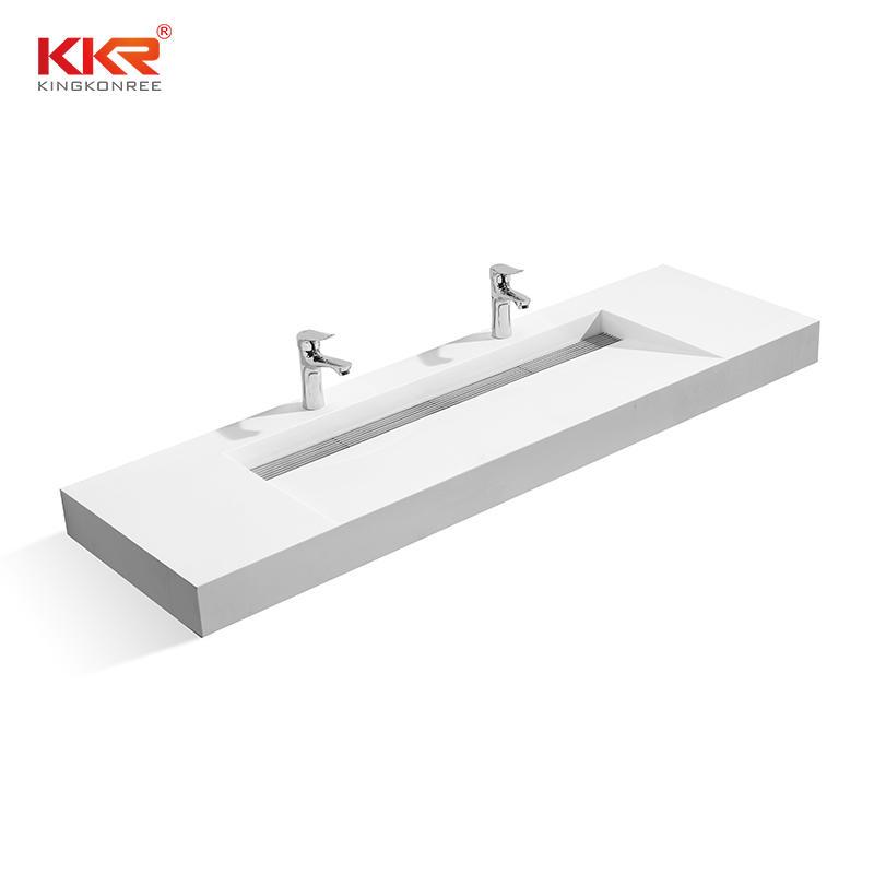 Diseño de ventas calientes Lavabo montado en la pared de superficie sólida blanca KKR-1371