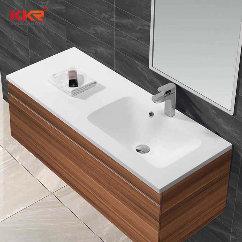 Piedra acrílica blanca real superficie sólida gabinete lavabo KKR-1526