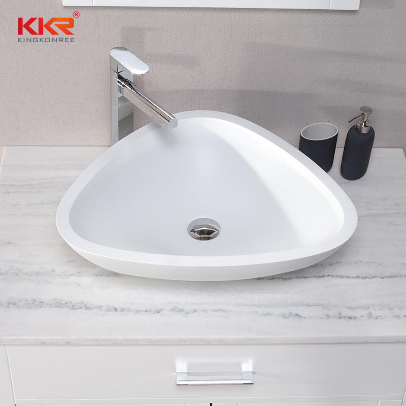 Trangle Design Acrylic Solid Surface Above Counter Wash Basin KKR-1519