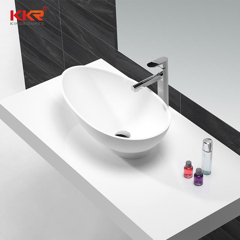 Hot Sales Egg Shape White Solid Surface Washing Basin KKR-1505