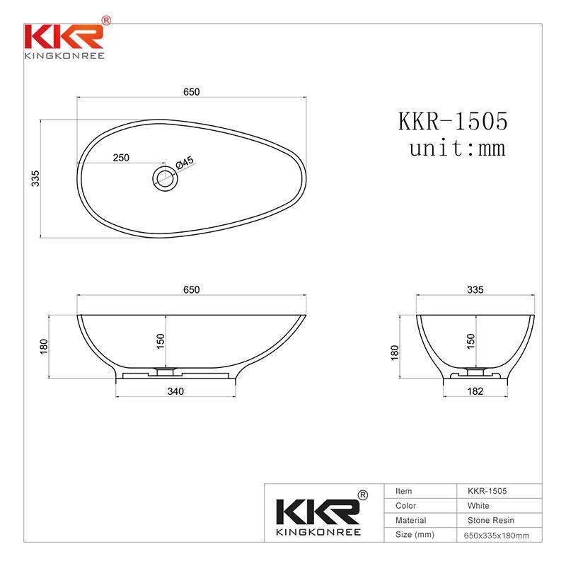 Hot Sales Egg Shape White Solid Surface Washing Basin KKR-1505