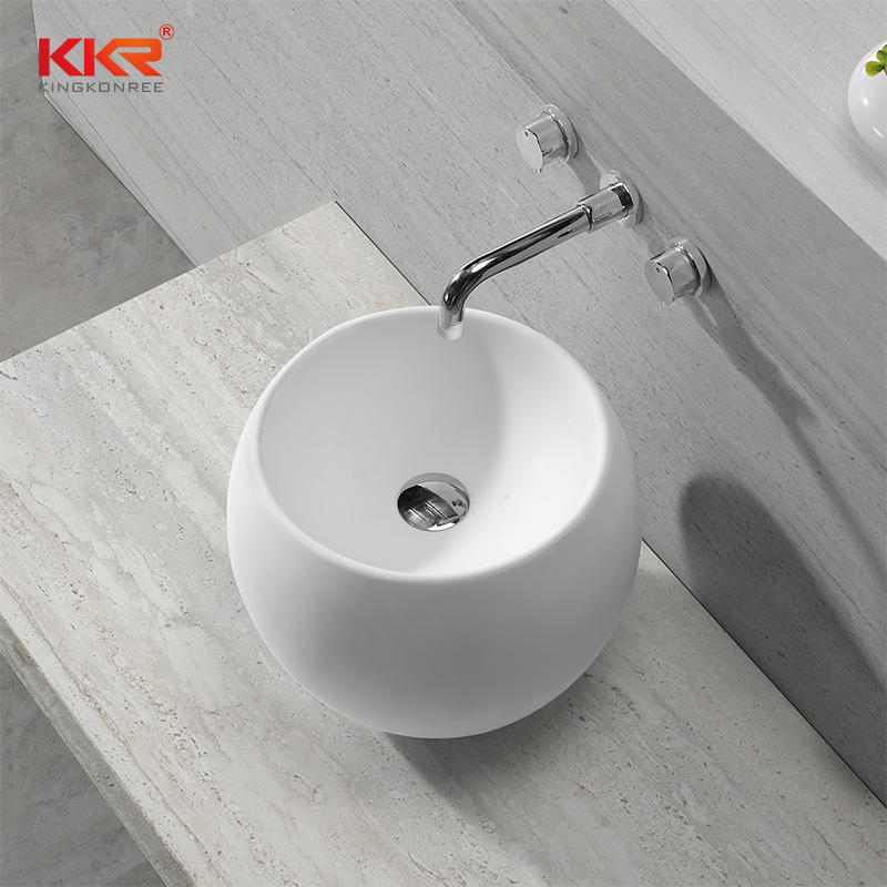 400x400mm Newly White Solid Surface Above Counter Wash Basin KKR-1507