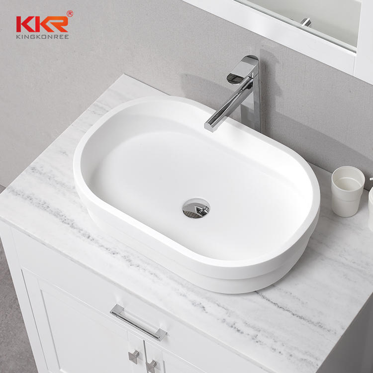 New Design 600MM Rectangle Solid Surface Above Counter Basin KKR-1052