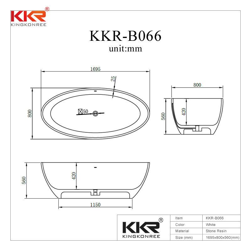 Oval Shape Acrylic Solid Surface Freestanding Bath Tub KKR-B066