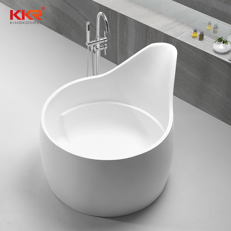 Unique Design White Marble Acrylic Solid Surface Bathtub KKR-B070