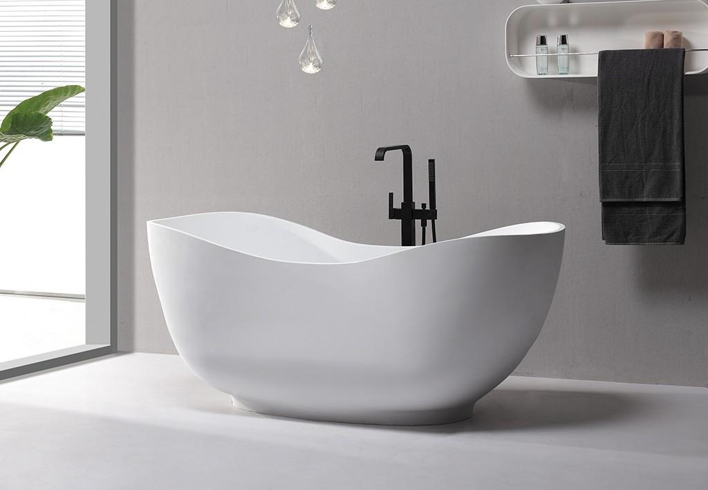 KingKonree white freestanding soaking bathtub OEM for shower room-1