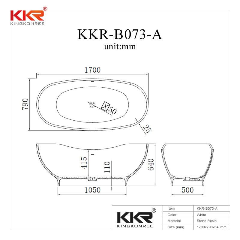 Newly 1700mm Length Acrylic Stone Solid Surface Bath Tub KKR-B073-A