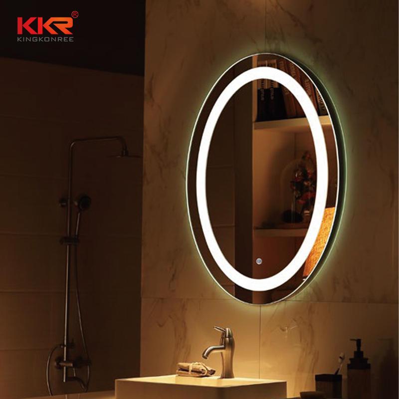 Buena calidad forma redonda espejo de baño partido para diseño de gama alta KKR-8011