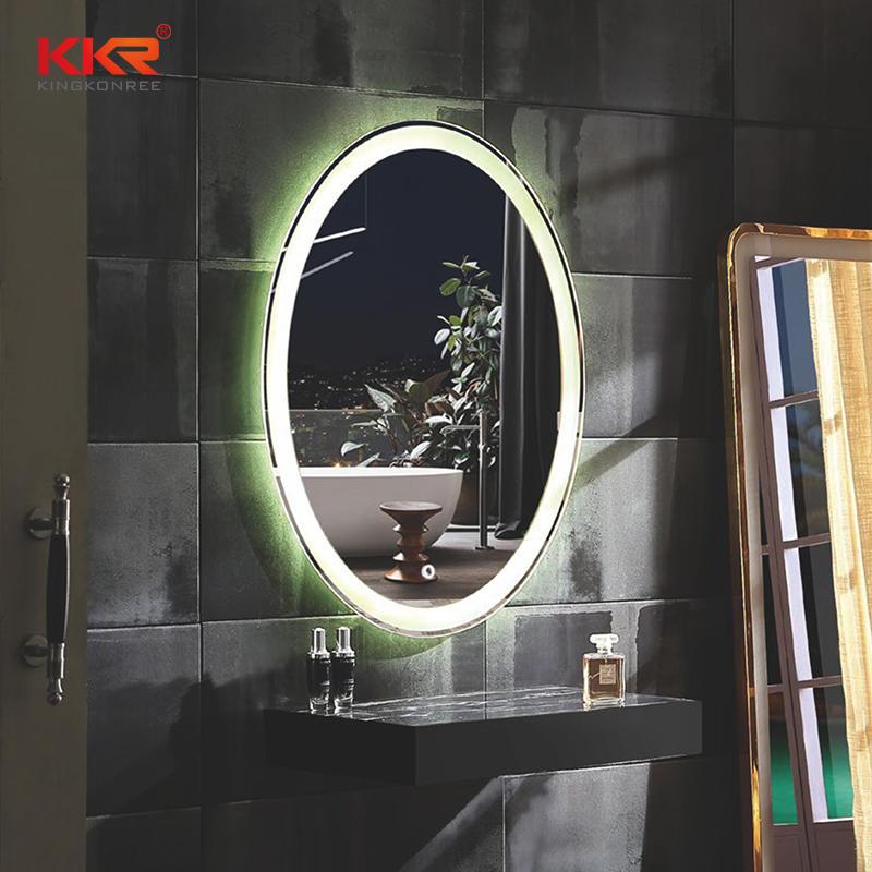 Espejo de baño de piedra artificial redonda de superficie sólida KKR-8012
