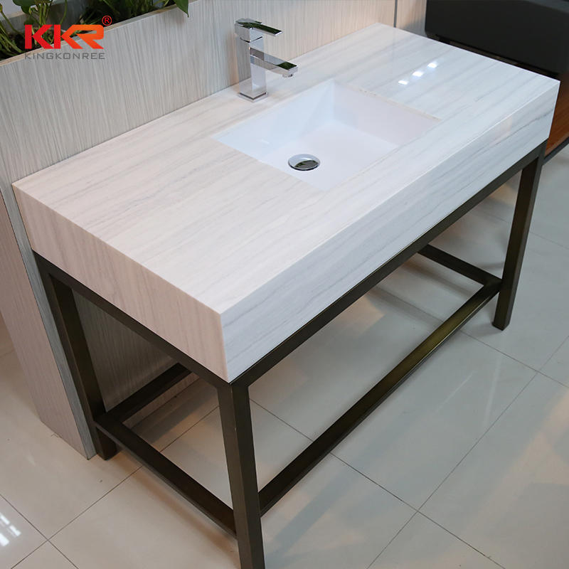 Texture Marble Pattern Solid Surface Vantiy Top With Undermount Sink KKR-Countertop E