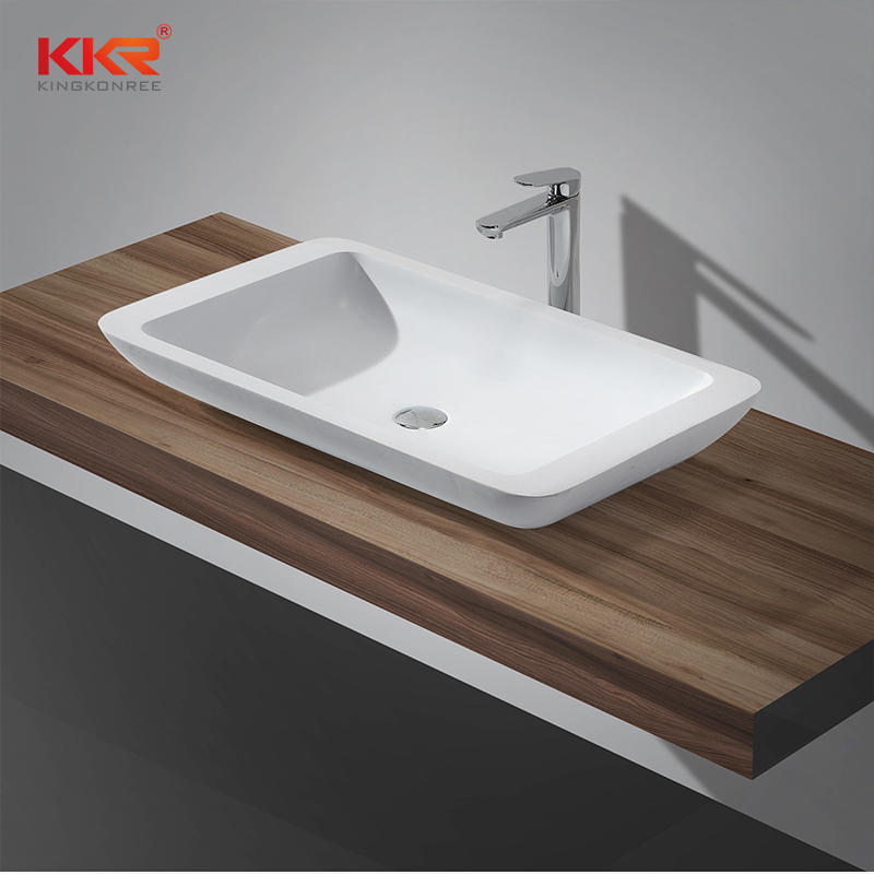 790x455mm Rectangle White Marble Solid Surface Bathroom Above Counter Wash Basin KKR-1322