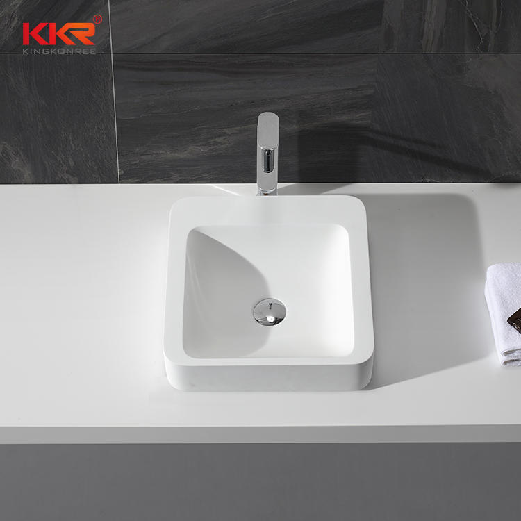 Square Acrylic Stone Resin Solid Surface Above Counter Wash Basin KKR-1323