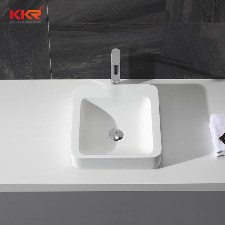 Superficie sólida de resina de piedra acrílica cuadrada por encima del lavabo de lavado de mostrador KKR-1323