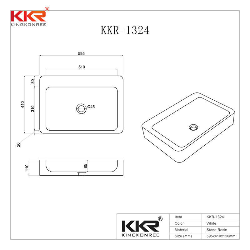 High-end Acrylic Solid Surfce Above Counter Basin KKR-1324