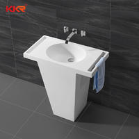 Arcylic Marble Soid Surface Freestanding Basin With Towel Shelf KKR-1584
