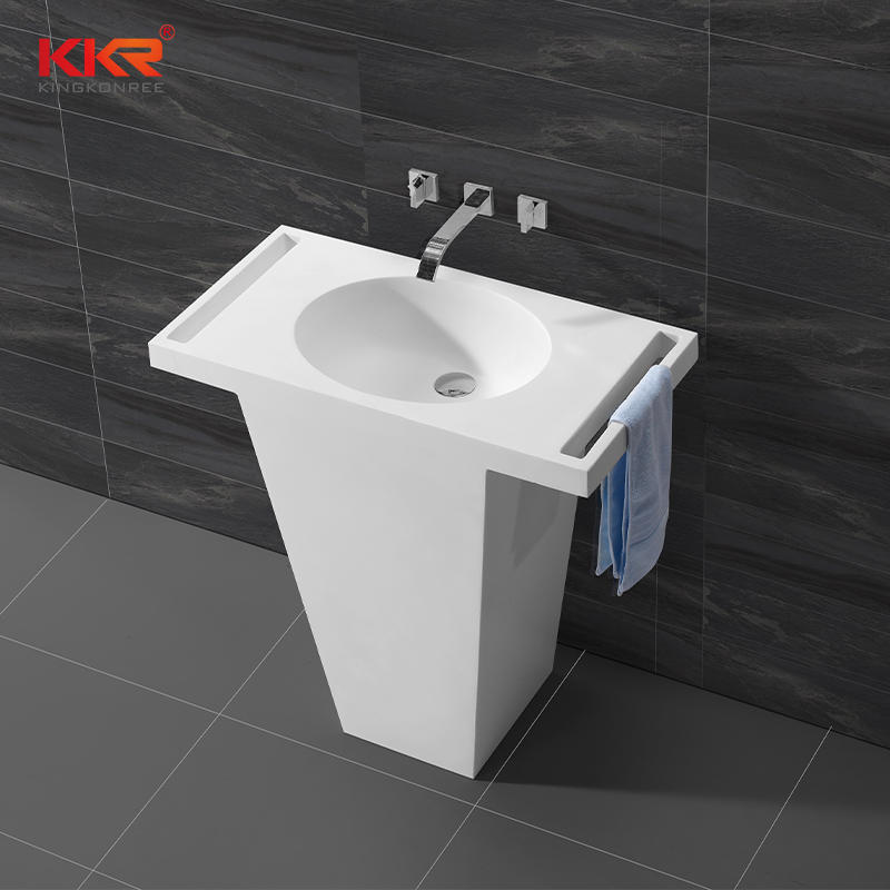 Arcylic Marble Soid Surface Freestanding Basin With Towel Shelf KKR-1584