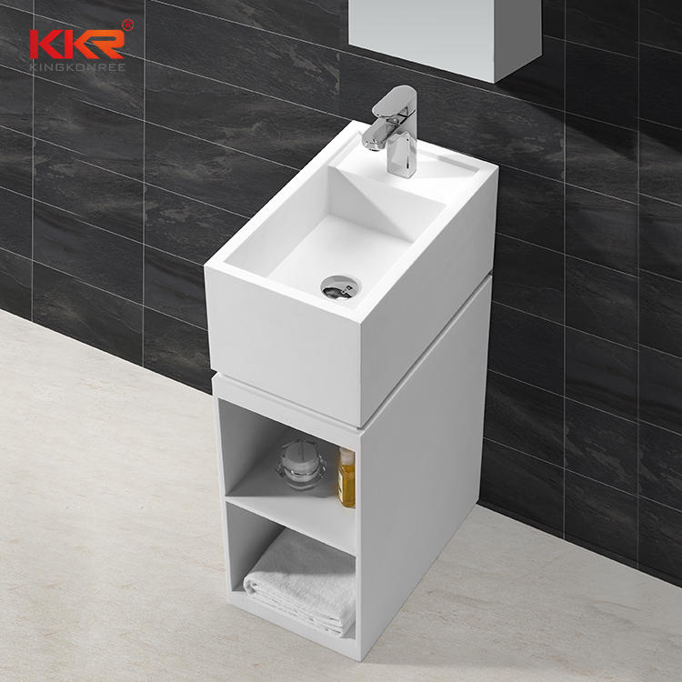 Artificial Stone Acrylic Soid Surface Freestanding Basin With Shelf KKR-1585