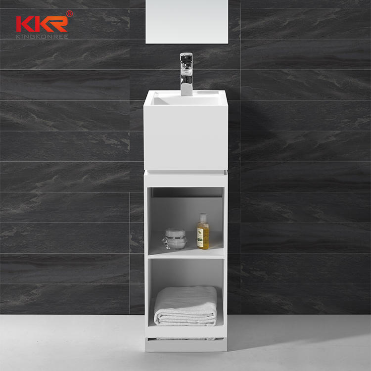 Artificial Stone Acrylic Solid Surface Freestanding Basin With Shelf KKR-1585
